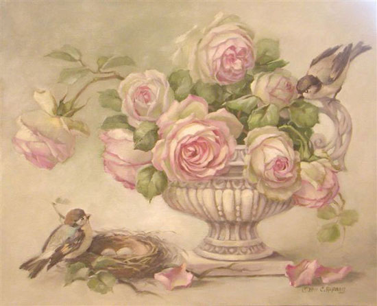"Christie Repasy's ""SPRING BLISS"" Roses and Birds MY FAVORITE PAINTING"